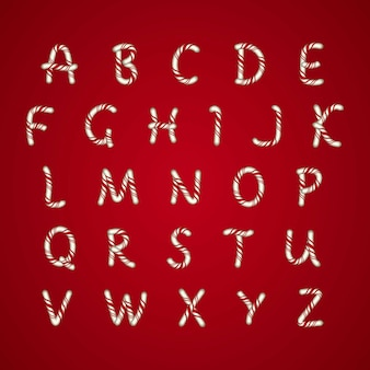 Candy cane weihnachten alphabet pack