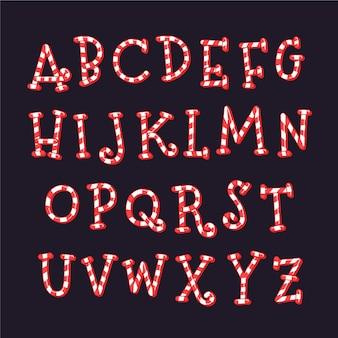 Candy cane weihnachten alphabet