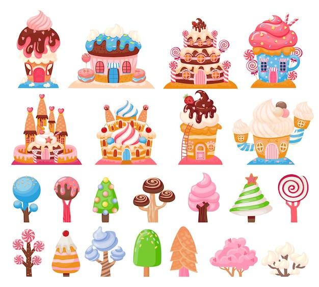 Candy land schokoladenkekshäuser und karamellbäume. fantasiestadt mit kuchenburgen. süßes spiel lutscher und cupcakes-elemente-vektor-set. fantastische eisanlagen und gebäude