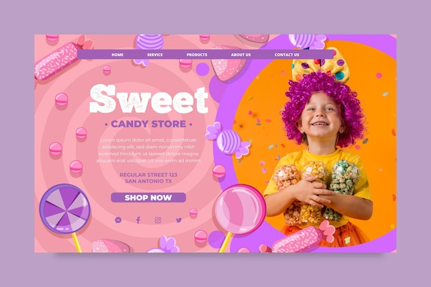 Candy landing page vorlage mit kind