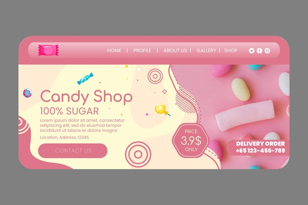 Candy shop landing page vorlage