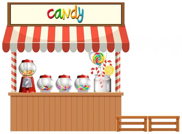 Candy stall weißen hintergrund