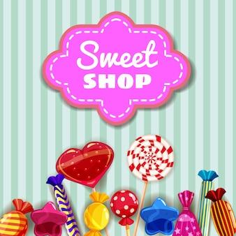 Candy sweet shop vorlage reihe von verschiedenen farben von süßigkeiten, bonbons, süßigkeiten, bonbons, gummibärchen