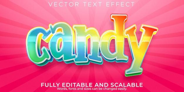 Candy texteffekt editierbarer süßer und bunter textstil Premium Vektoren