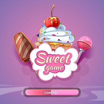 Candy world game hintergrund mit titelnamen