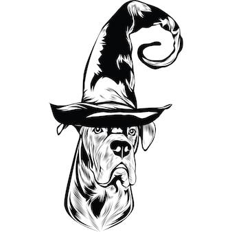 Cane corso hund im hexenhut für halloween