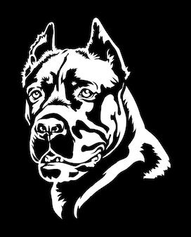 Cane corso hundeporträt-vektorillustration auf schwarzem
