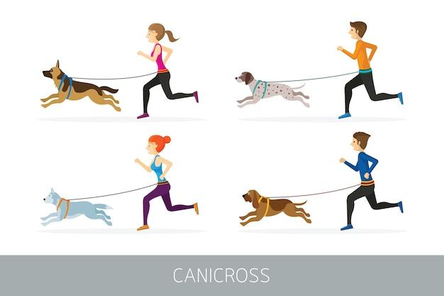 Canicross, menschen laufen mit hunden sport im freien