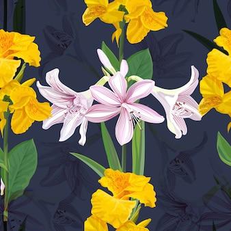Canna lilie und hippeastrum blühen nahtlose musterillustration