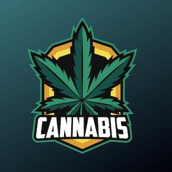 Cannabis-blatt-maskottchen für sport- und esport-logo lokalisiert auf dunklem hintergrund