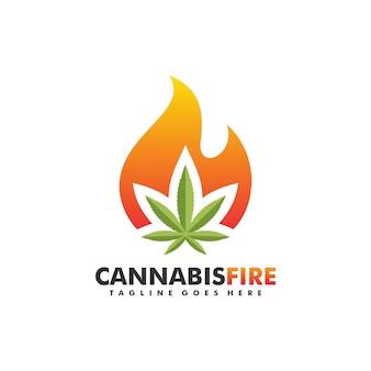 Cannabis-feuer-konzeptillustration