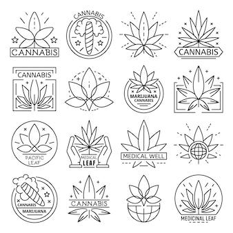 Cannabis-icon-set. umrißsatz der cannabisvektorikone