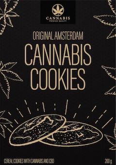 Cannabis-kekse, schwarzes verpackungsdesign im doodle-stil mit cannabis-keksen und marihuana-blättern.