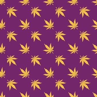 Cannabis nahtloses muster gelbe hanfblätter auf violettem hintergrund