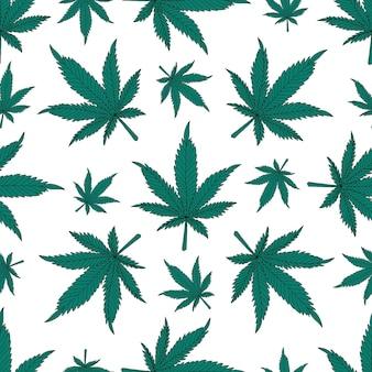 Cannabis-nahtloses muster. grüne hanfblätter auf weißem hintergrund.