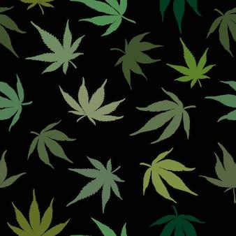 Cannabis-nahtloses muster. vektor-illustration