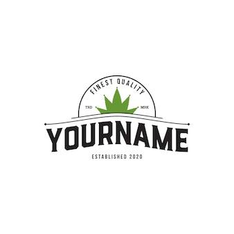 Cannabis oder hanf mit kronenförmigem logo-design