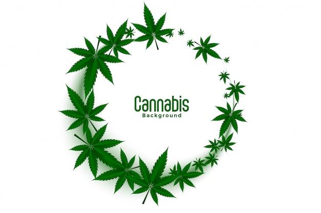 Cannabis oder marihuana-unkraut hinterlässt rahmenhintergrunddesign