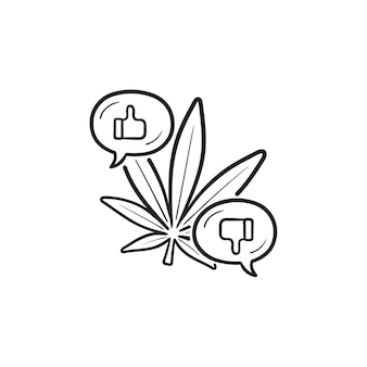 Cannabis schlechte und gute effekte mit daumen hoch und runter handgezeichnetes umriss-doodle-symbol. cannabisnutzenkonzept