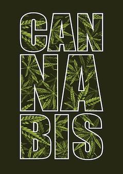 Cannabis-typografie mit muster