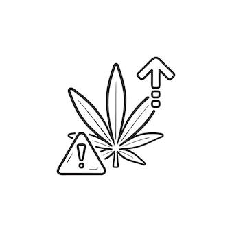 Cannabis-überdosis-effekt-gefahr mit ausrufezeichen und pfeil nach oben handgezeichneten umriss-doodle-symbol marihuana