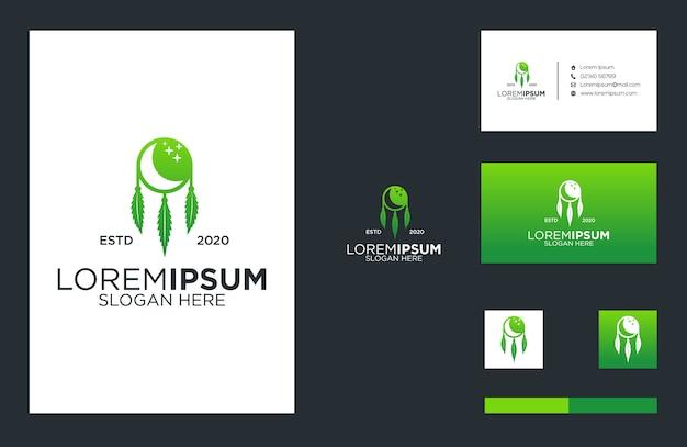Cannabis und traum-logo und visitenkarten-design