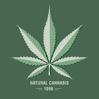 Cannabisblatt (marihuana) im flachen vintage-stil.