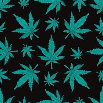 Cannabismuster.hanfblätter auf schwarzem hintergrund