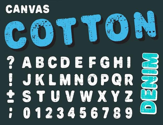 Canvas design zahlen und buchstaben. baumwollschrift alphabet vorlage.
