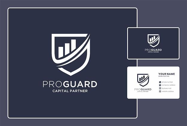 Capital partner logo-design mit schild und diagrammelement.