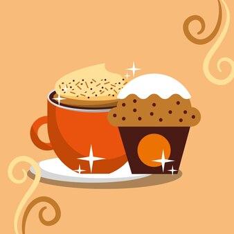 Cappuccino-kaffee-schaum und cupcake-chips-creme