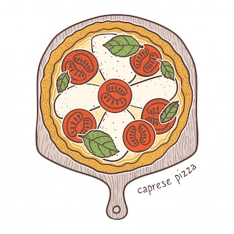 Caprese pizza, skizzierende illustration