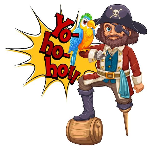 Captain hook-cartoon-figur mit yo-ho-ho-rede