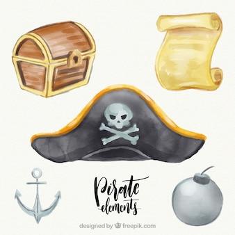 Captain hut und andere aquarell-elemente