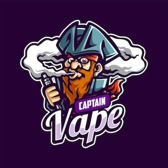 Captain vape cartoon-maskottchen-log