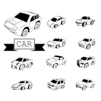 CAR CARTOON auf weißem Hintergrund