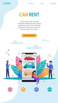 Car rent mobile app mit memphis-symbol.