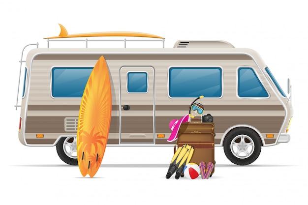 Car van wohnwagen wohnmobil wohnmobil mit strandzubehör