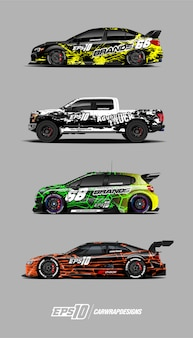 Car wrap designs vektor festgelegt