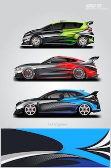 Car wrap designs vektor festgelegt