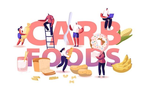 Carb foods konzept. leckere und köstliche diät zur gewichtszunahme mit snacks und junk. karikatur flache illustration