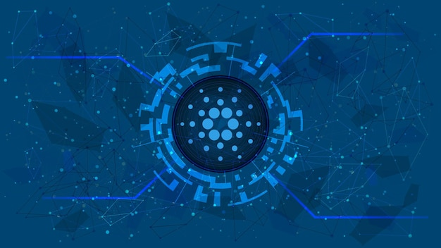 Cardano-token-symbol in einem digitalen kreis mit einem kryptowährungsthema auf blauem hintergrund. ada-münzensymbol. digitales gold für website oder banner. platz kopieren. vektor-eps10.