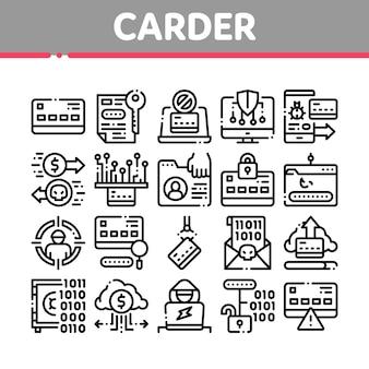 Carder-hacker-sammlungs-element-ikonen eingestellt