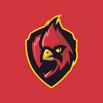 Cardinal bird mascot head logo