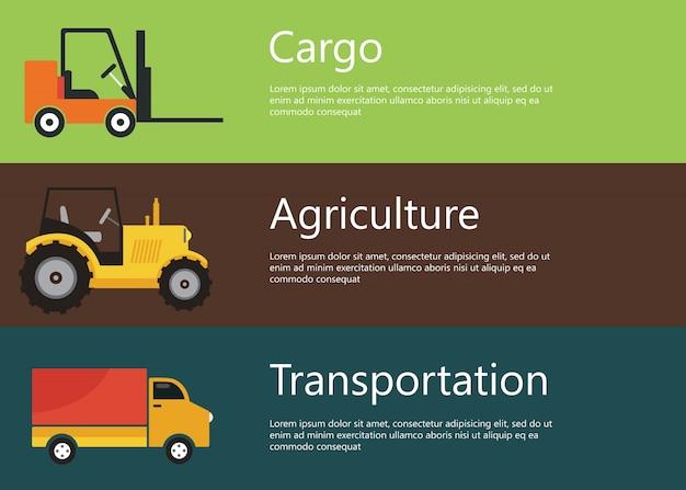 Cargo, landwirtschaft, transport web-banner