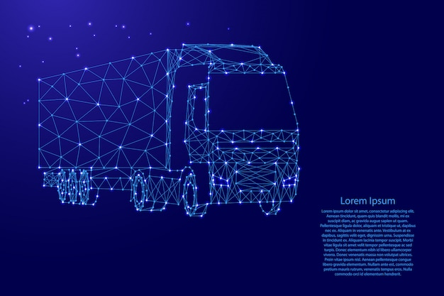 Cargo truck mit auflieger aus futuristischen polygonalen blauen linien und leuchtenden sternen