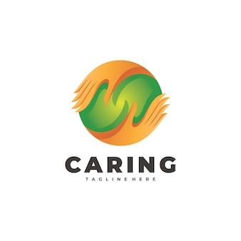 Caring hand und circle sphere social logo