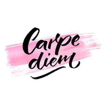 Carpe diem lateinischer satz nutze den tag genieße den moment inspiration zitat kalligraphie auf rosa