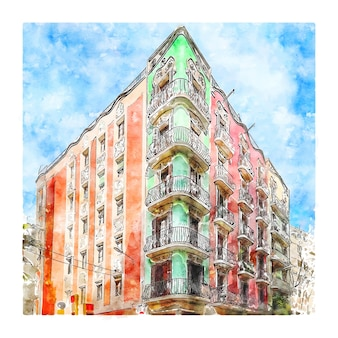 Carrer gran de gracia barcelona aquarell skizze hand gezeichnete illustration