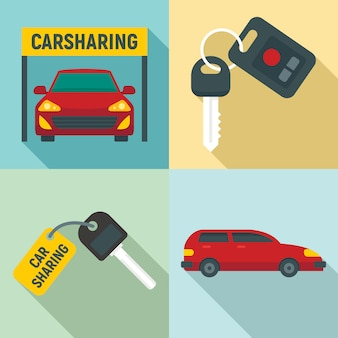 Carsharing-ikonen eingestellt, flache art